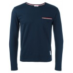 Long Sleeve T-Shirt With Chest Pocket In Navy Jersey
