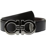 Salvatore Ferragamo Mens Mini-Big with Metallic Enamel - 679494 Black/Hickory Belt